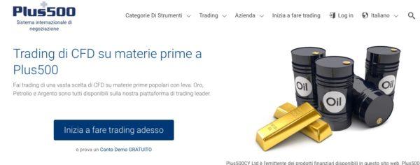 Trading Materie Prime con Plus500