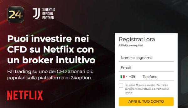 Comprare Azioni Netflix con 24Option