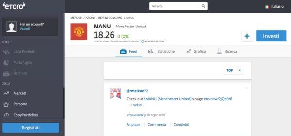 Comprare Azioni Manchester United eToro