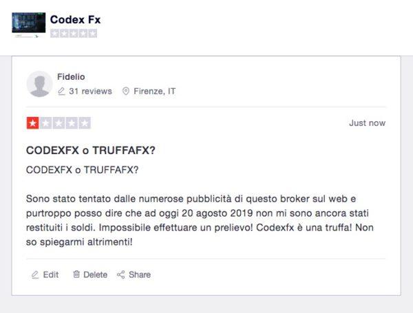 CodexFx Recensioni Trustpilot