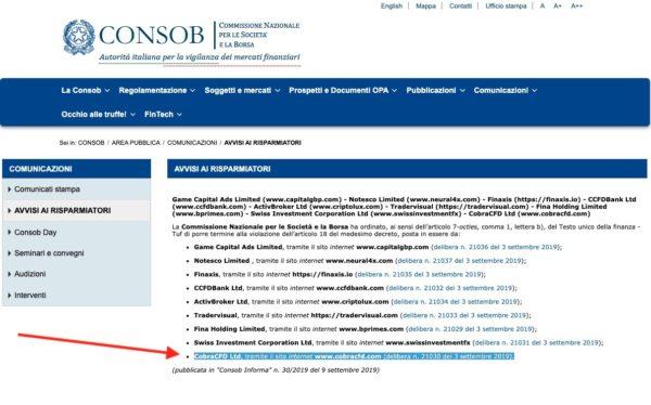 COBRA CFD Non Autorizzato CONSOB