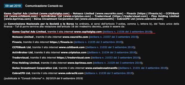 CapitalGBP Game Capital Ads Limited Comunicazione CONSOB