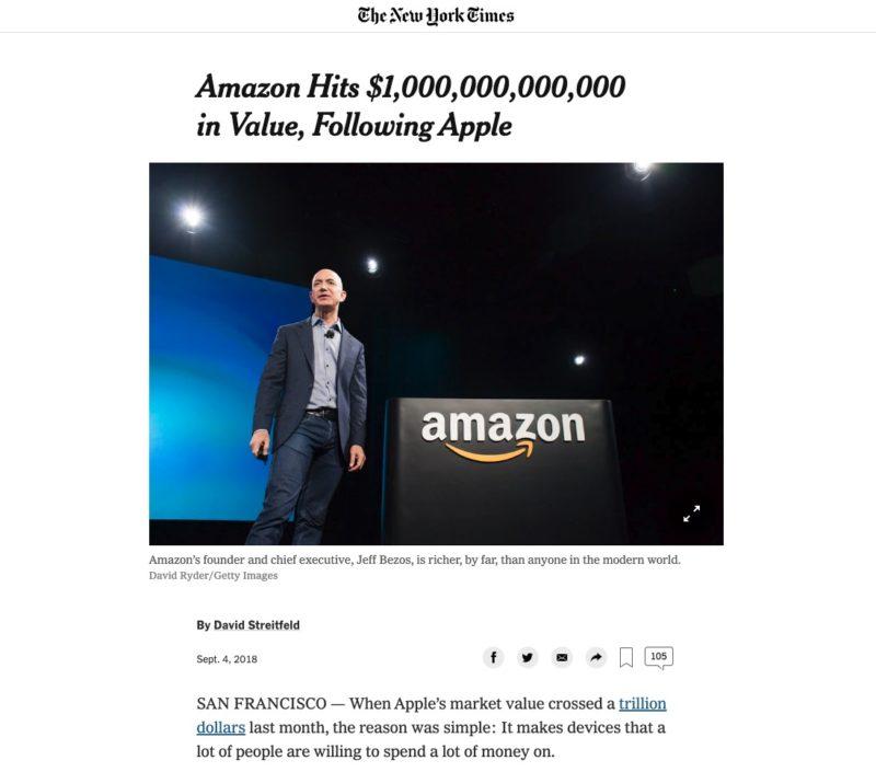 Amazon Capitalizzazione 1000 miliardi di dollari