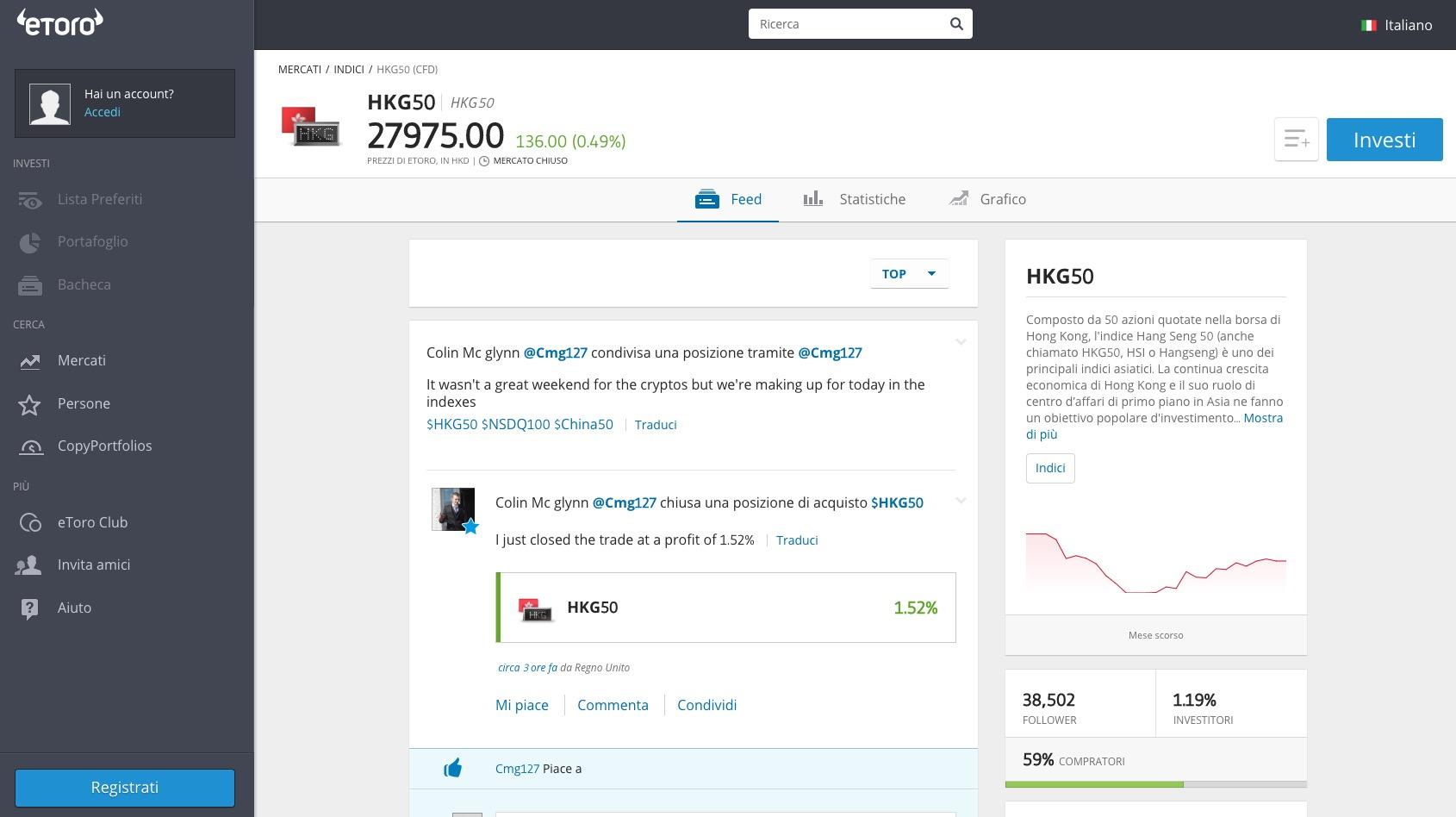 Investire nell'Indice Hang Seng con eToro