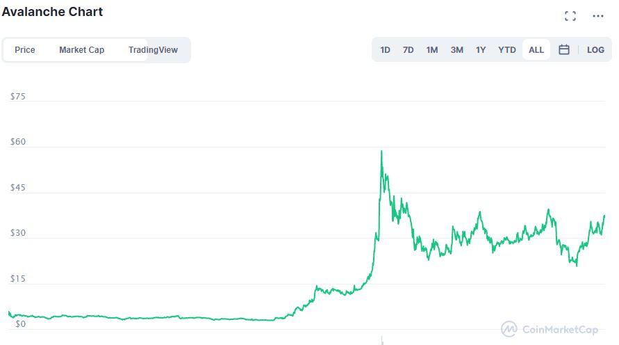 Avalanche AVAX grafico su CoinMarketCap